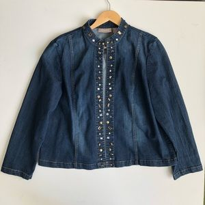 Chico's Open Denim Embroidered Jacket - MINT- sz 3